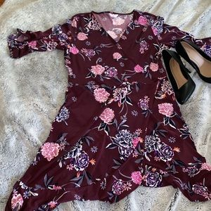 NWT Candies Burgundy Floral Dress